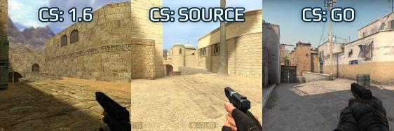 Сравнение графики в играх CS 1.6/CS:S/CS:GO